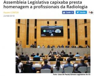 Assembleia Legislativa capixaba presta homenagem a profissionais da Radiologia