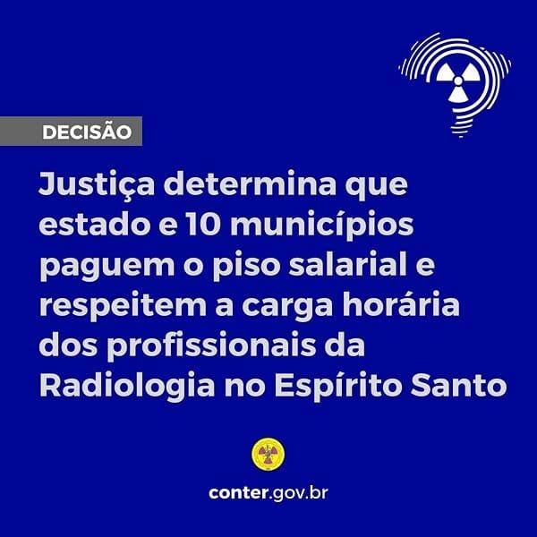 Justiça determina que estado e municípios paguem o piso salarial e respeitem a carga horária dos profissionais da Radiologia no Espírito Santo