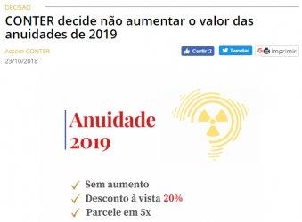 CONTER decide não aumentar o valor das anuidades de 2019