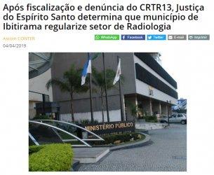 Após fiscalização e denúncia do CRTR13, Justiça do Espírito Santo determina que município de Ibitirama regularize setor de Radiologia