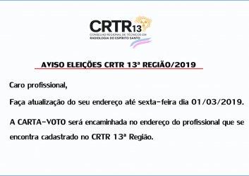 AVISO ELEIÇÕES CRTR 13ª REGIÃO/2019