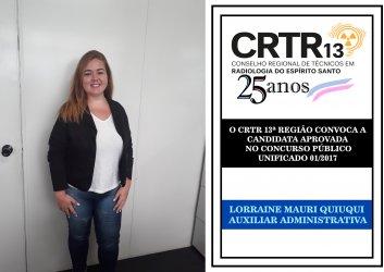 O CRTR 13ª REGIÃO CONVOCA A  CANDIDATA APROVADA  NO CONCURSO PÚBLICO  UNIFICADO 01/2017